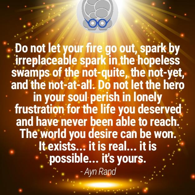 Image meme of Ayn Rand quotation: brain, neurological optimism, hope, spark