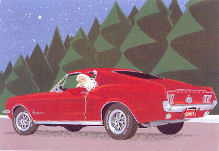 Santa Claus driving to Detroit in a red vintage Ford Mustang car to find interesting rare unique Christmas songs as a form of music therapy